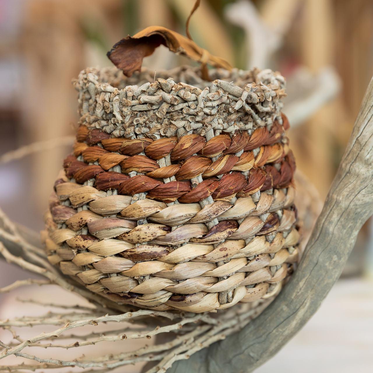basket woven by Paula Boo of Paula Boo Studio North Stradbroke Island available at the island arts gallery dunwich