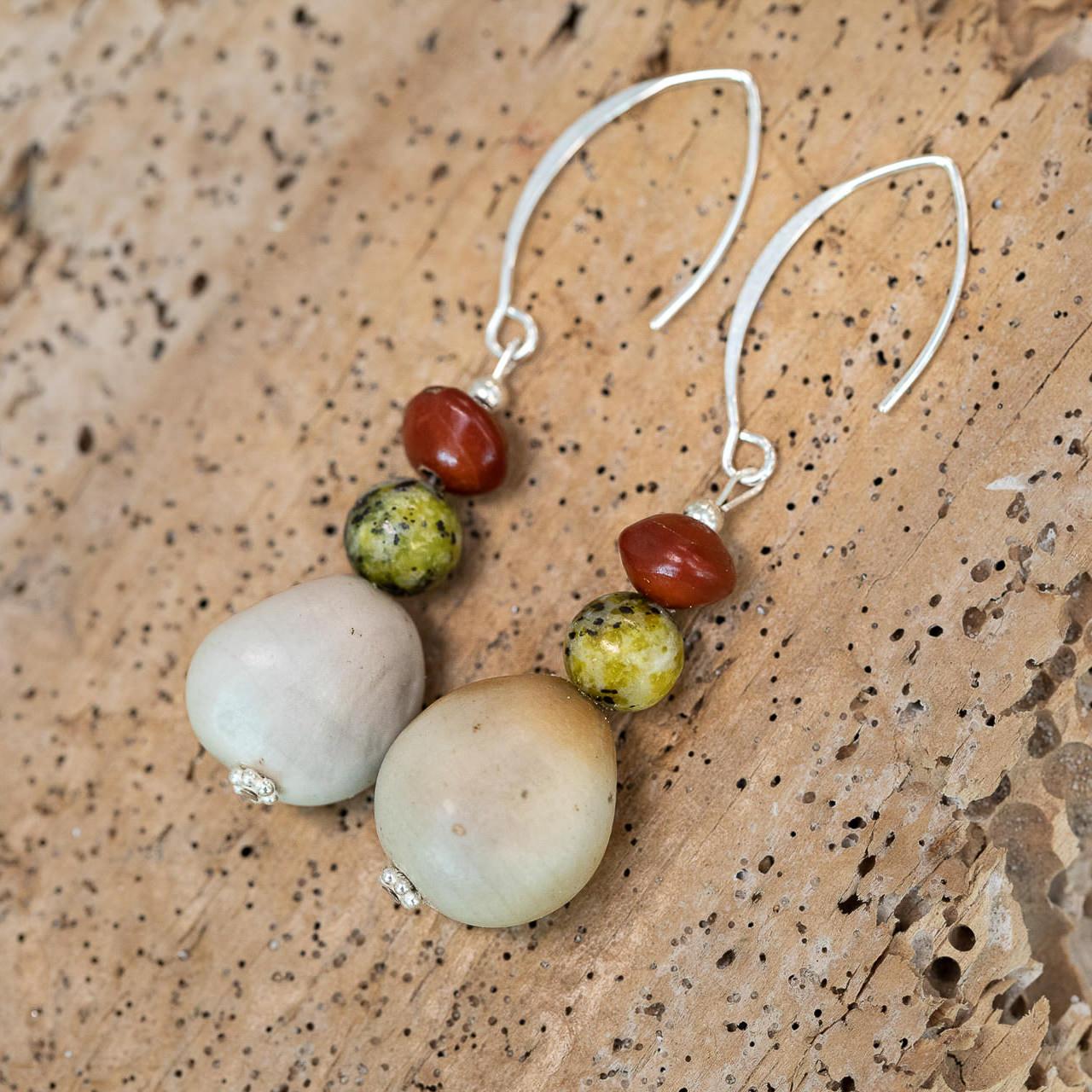 Seed jewellery earrings by Amber Vicum of Seed Tree at the Island Arts Gallery North Stradbroke Island