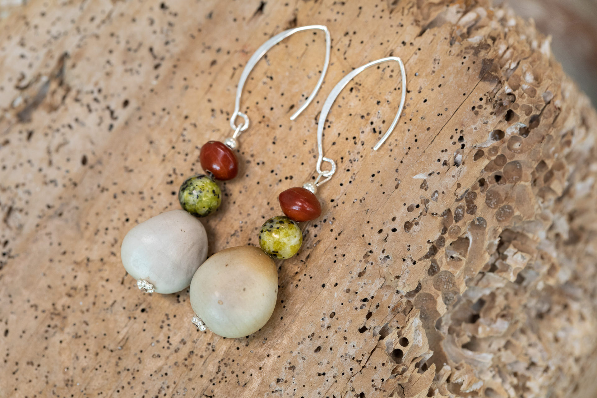 Seed jewellery earrings by Amber Vicum of Seed Tree at the Island Arts Gallery