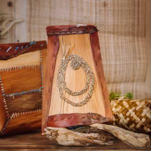 wall art piece using palm sheath and decorated