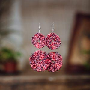 two circles red earrings paper raffia crochet design