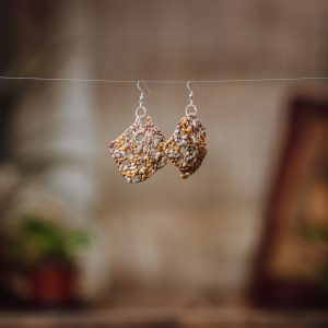 woven paper raffia earrings brown and yellow small with sterling silver ear hooks findings