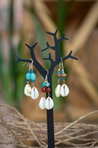 earrings with shells and beads by Amber Vicum