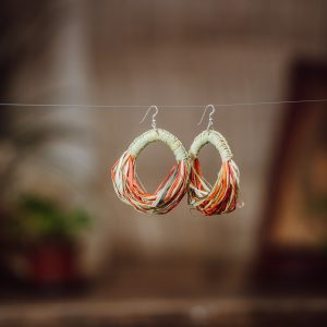 earrings woven paper raffia eclipse style colourful orange yellow greens
