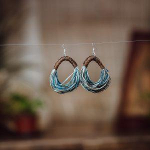 eclipse earrings woven paper raffia style