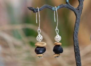 earrings with silver ear hooks and native seeds and silver beads