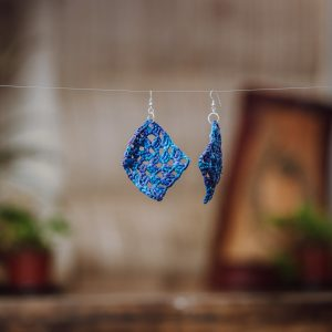 blue paper raffia crochet earrings with sterling silver ear hooks
