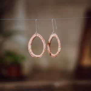 peach colour woven paper raffia earrings handmade by Paula Boo