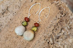 earrings with nicker nut beads and native seeds with sterling silver ear hooks