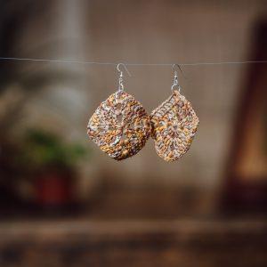 brown and yellow crochet paper raffia earrings