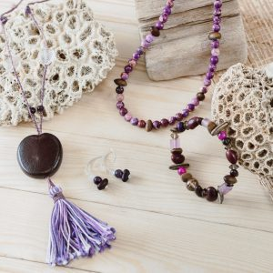 earrings bracelet and bead necklace and necklace with burnie bean pendant by Amber Vicum Seed Tree